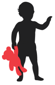 child from the icis logo holding a red teddy bear