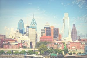 desaturated philly skyline with blue sky