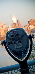 25 cent binoculars to view philly skyline from observation deck