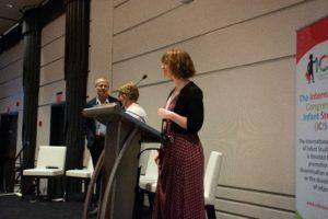 Rachel Barr accepting on behalf of Carolyn Rovee-Collier's family