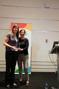 Elisabeth Conradt (Early Career Award winner) and Kathy Hirsh-Pasek (President)